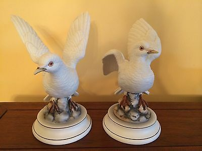 "Andrea By Sadet Vintage White Dove Mirror Pair Signed By Andrea - 8-1/2"" H"