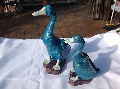 Antique Chinese Pair of Turquoise Ducks