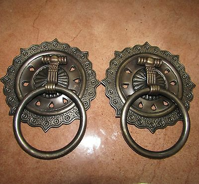 "7""(2pcs) Vintage Solid Brass SUN Front Door Knocker with Pull Ring KNOCKER KN15"