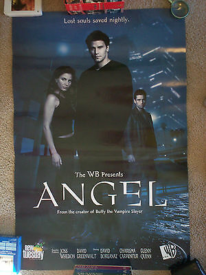 "Original 1999 ""Angel"" promo poster WB NEW!!! Buffy David Boreanaz 3' x 2'"