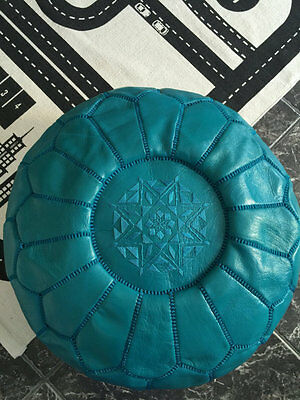 *Small Imperfection* Moroccan Leather Ottoman Pouffe Pouf Footstool In Turquoise