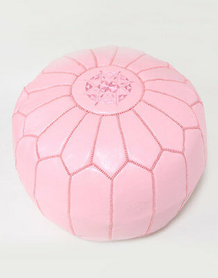 Moroccan Leather Ottoman Pouffe Pouf Footstool In Pink