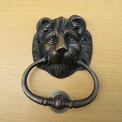 "6.2"" Vintage Solid Brass Lion Front Door Knocker with Pull Ring KNOCKER GBY40"