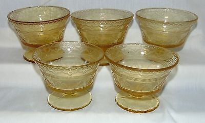 """5 Federal PATRICIAN AMBER *3 1/2"""" SHERBETS*"""