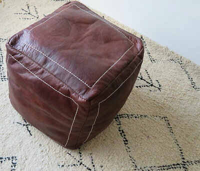 Square Moroccan Leather Ottoman Pouffe Pouf Footstool Coffee Table In Dark Tan