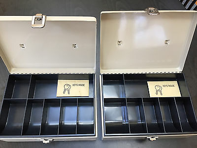 2 Locking Cash Boxes with 7-Compartment Tray - Great Condition
