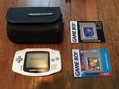 White Game Boy Gameboy Advance Handheld Console plus case, Tetris and Pac-Man