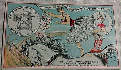 New Home Sewing Machine Woman Riding Back Of Horse  With 2 Clowns