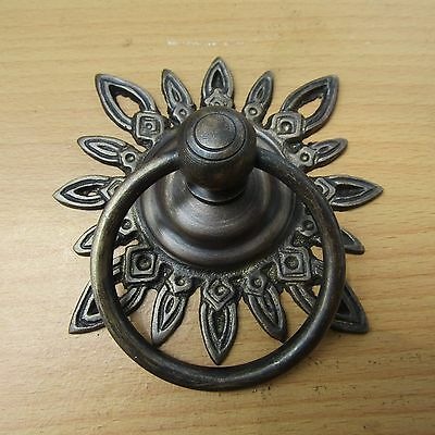"3.25"" Vintage Solid Brass Sun Front Door Knocker with Pull Ring KNOCKER GBY 36"