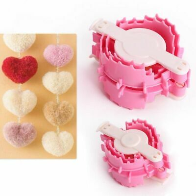 Heart Shape Pom Pom Maker Fluff Ball Weaver Baby Knitting Tool Small + Large