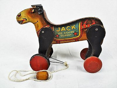 Jack the Donkey – Antique Wooden Vintage Pull Toy by All-Fair not Fisher Price