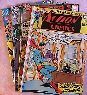 Superman Action Comics Nos. 363, 364, 547, and 390