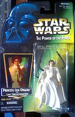 1997 Kenner Star Wars Power of the Force LEIA ORGANA w/Pistol Assault rifle MOC