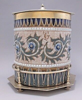 Rare ROYAL DOULTON LAMBETH Jar GEORGE TINWORTH w/Silver Lid & Stand c.1878 Nice!