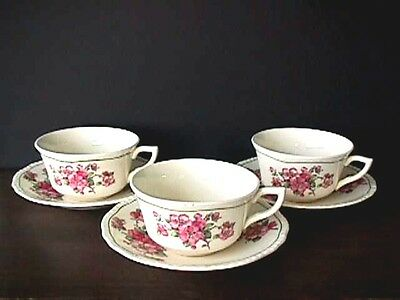 **steubenville Ivory (3) Apple Blossom Cups & Saucers 1930'S Uw32-G