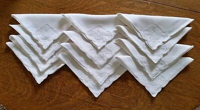 12 Gorgeous Antique Linen Dinner Napkins With Organdy Inserts
