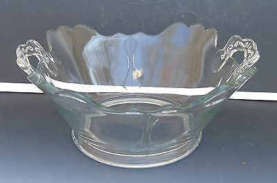Antique Glassware Clear Pressed Glass Serving Bowl w/ Handles Scalloped Rim 8""