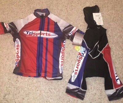 DeSoto Mobius Cycling Bib Shorts + Sleeveless Jersey Mens Small 8mm Carrera Pad