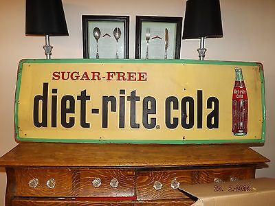 Vintage Diet Rite Cola Store Sign 18 X 54 In. With Embossed Letters Original