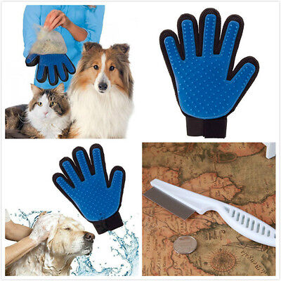 Perfect Pet Dog Cat Brush Gloves Efficient Massage Groomer Magic Hair Remover UK