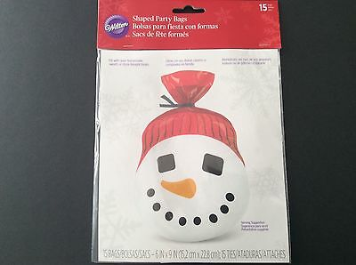 Wilton Christmas Treat Bags Snowman Shaped Party 15 count