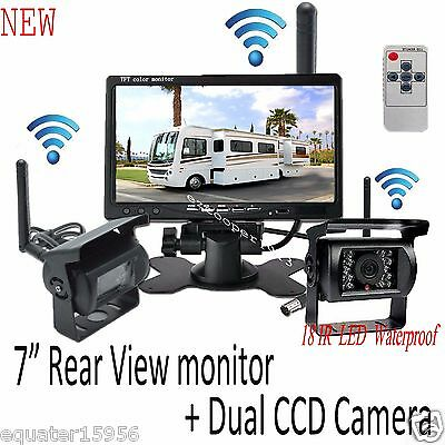 For truck RV wireless pair IR backup CCD camera+HD 7 inch reservsing monitor kit