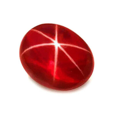 6.25ct LAB CREATED Astrix Sharp 6-RAY Blood Red RUBY SAPPHIRE OVAL Cab 8 x11 MM