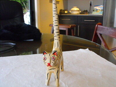 vintage long tailed striped cat carved from balsa wood 7 x 12""