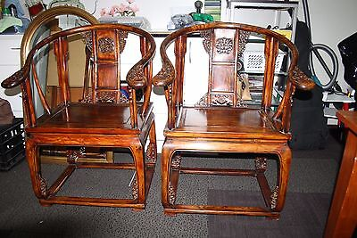 Chinese, Asian, Wooden Ornate Throne Chairs.