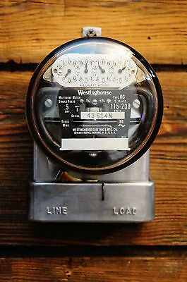 Working Vintage Westinghouse Electric Watt Hour Meter Dials Glass Dome Steampunk