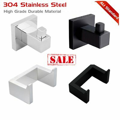 Wall Single Double Towel Robe Hook Holder Stainless Steel Black Chrome Bathroom