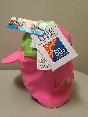 Bright Bots Baby Girl Swim Rash Hat Swimwear Cap  Pink/Green  Size M/L UPF 50+