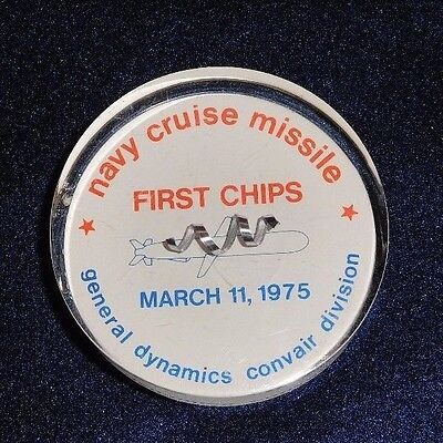 General Dynamics Convair Division Navy Cruise Missile First Chips Paperweight