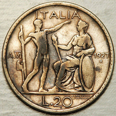 Italy Silver 20 Lire 1927 (Scarce + Sought After)