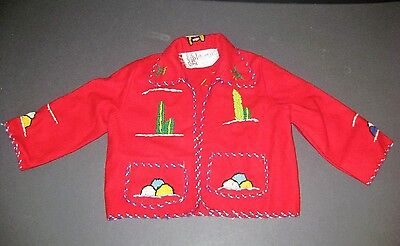 Vintage 1940/50's Childrens Mexican Tourist Souvenir Wool Hand Embroidered Coat