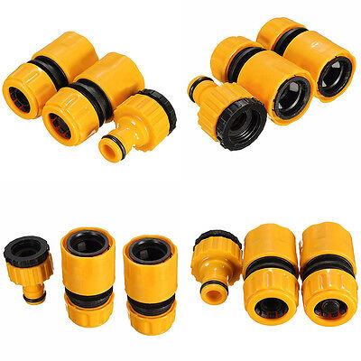 """3pcs 1/2"""" 3/4"""" Hose Pipe Fitting Set Quick Yellow Garden Water Connector Adaptor"""