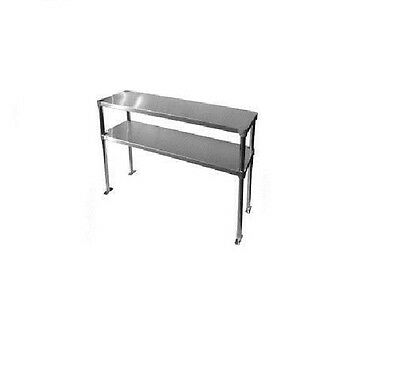 Commercial Stainless Steel Double Overshelf 18 x 48 for Work Tables - Top Mount