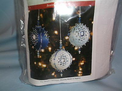 TRIO OF BLUES & WHITE BEADED BEAUTIES Bead Sequin Christmas Ornament Kit