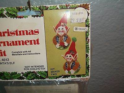 Vintage Holiday FAT LITTLE SANTA'S ELF ELVES Bead Sequin Christmas Ornament Kit