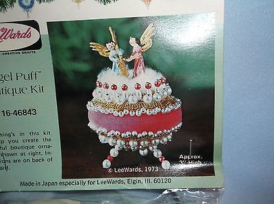 Vintage LeeWards PINK MUSICAL ANGELS PUFF Bead Sequin Cristmas Ornament Kit