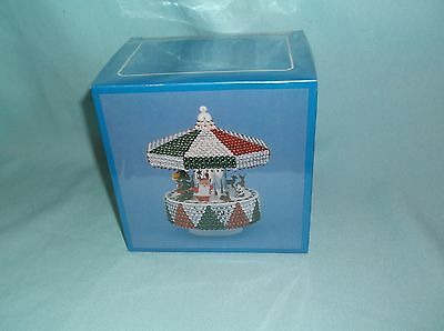 Vintage Franks RED WHITE GREEN MUSICAL MERRY GO ROUND Bead Sequin Ornament Kit