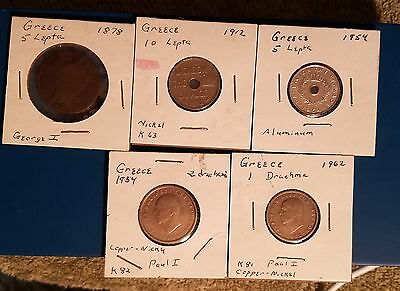 Greece Coins, lot of 5, free shipping
