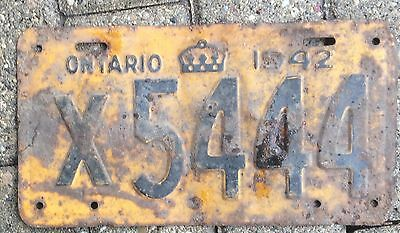 1942 Ontario License Plate Rusty But Solid