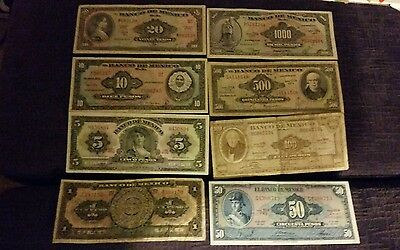 8 different old mexican pesos  banknotes currency paper money lot