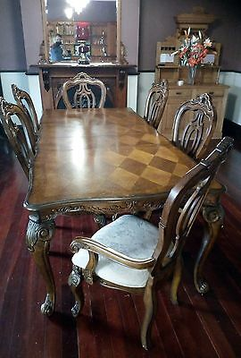 antique reproduction dining table suite