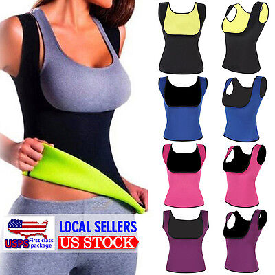 Womens Sauna Body Shaper Tummy Fat Burner Tank Top Weight Loss Workout Shapewear