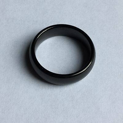 Tungsten Carbide Shiny Black Comfort Fit Wedding Band 6mm Size 8.5