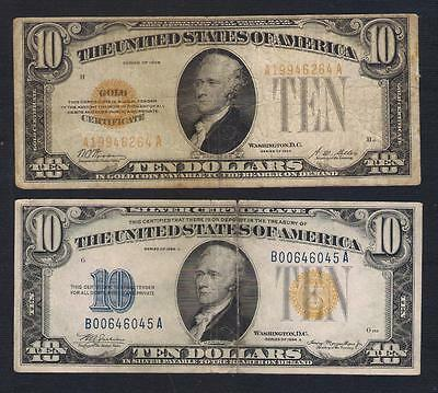 1928.01934 UNITED STATES 2Banknot $10 GOLD1928 & Silver 1934 VG