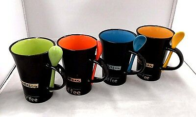 4 Tea Cup Mug Ceramic Coffee Mugs Set with Spoons Kitchen Office Gift 300ml