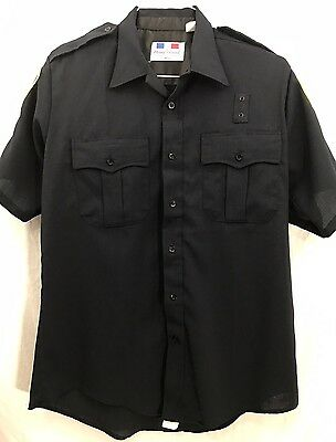 Flying Cross Police Uniform Shirt Mens Dark Navy Short Sleeve Zipper Front 16